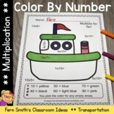 Color By Numbers Transportation Multiplication With Bonus