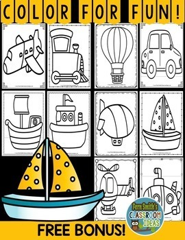 Color By Numbers Transportation Subtraction With Bonus Coloring Pages