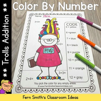 Color By Numbers Trolls Addition