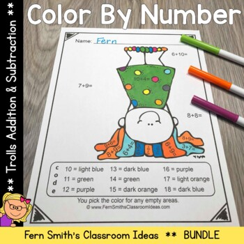 Color By Numbers Trolls Addition and Subtraction Bundle