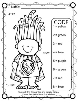 Colour By Numbers Trolls Multiplication and Division UK Version