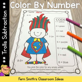 Color By Numbers Trolls Subtraction