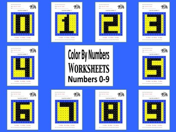 Color By Number Worsheets: Numbers 0 - 9 Mystery Pictures