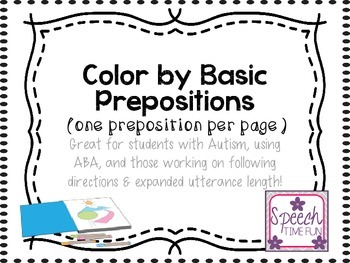 Color By Prepositions (1 per page): great for ABA and more!