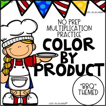 Multiplication Fact Fluency Practice Color By Product BBQ Theme