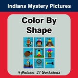 Color By Shape - Color By Code | Math Mystery Picture - Native American Indians