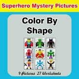 Color By Shape - Color By Code | Math Mystery Picture - Superhero