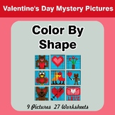 Color By Shape - Color By Code | Math Mystery Picture - Valentine's Day