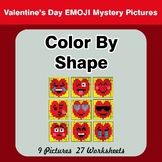 Color By Shape - Color By Code | Math Mystery Picture - Valentine's Day Emoji