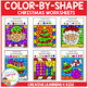 Color By Shape Worksheets: Christmas