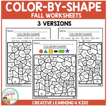 Color By Shape Worksheet: Fall Sampler
