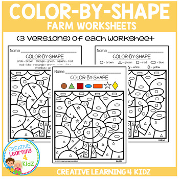 Color By Shape Worksheets: Farm