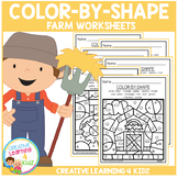 Color By Shape Worksheets: Farm