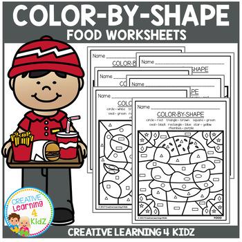 Color By Shape Worksheets: Food
