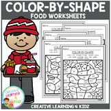 Color By Shape Worksheets: Food