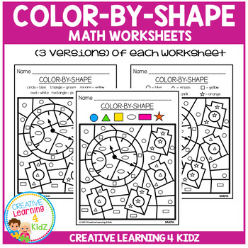 Color By Shape Worksheets: Math