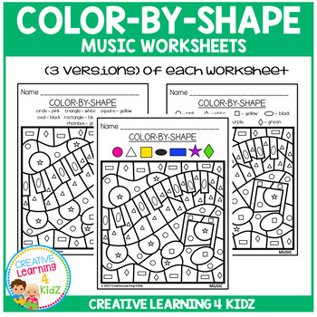 Color By Shape Worksheets: Music