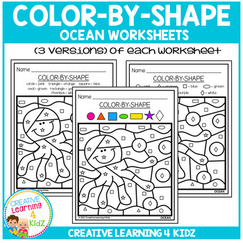 Color By Shape Worksheets: Ocean