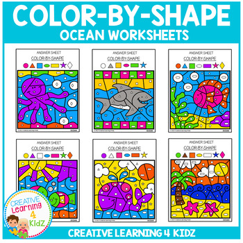 Color By Shape Worksheets: Ocean
