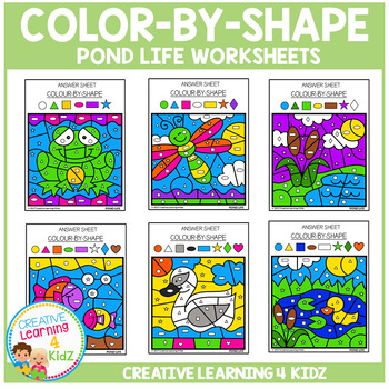 Color By Shape Worksheets: Pond Life
