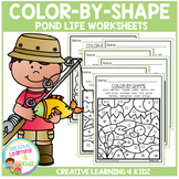 Color By Shape Worksheets: Pond Life