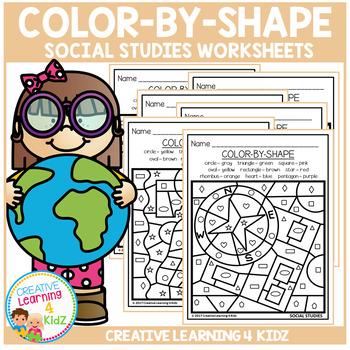 Color By Shape Worksheets: Social Studies