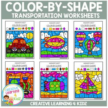 Color By Shape Worksheets: Transportation