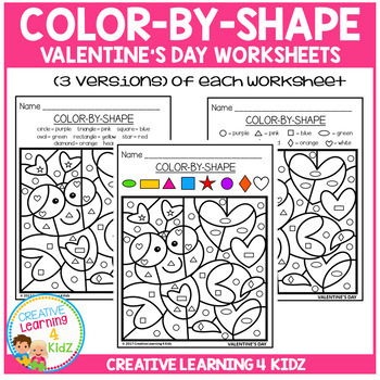 Color By Shape Worksheets: Valentine's Day