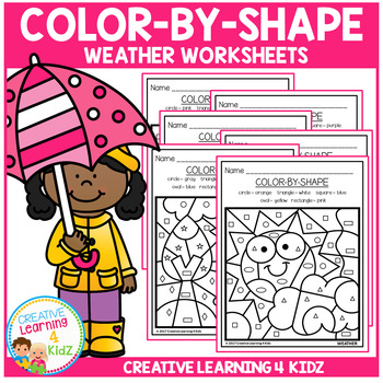 Color By Shape Worksheets: Weather
