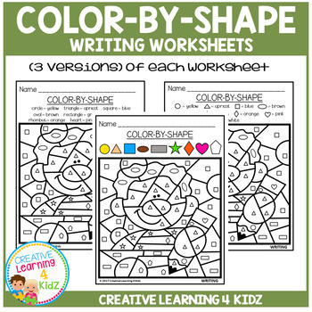 Color By Shape Worksheets: Writing