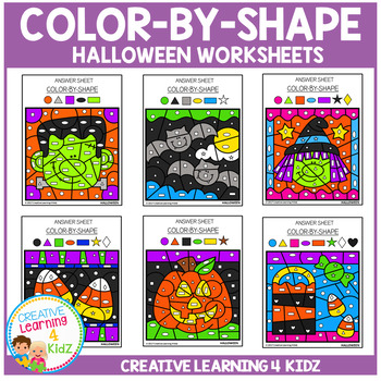 Color By Shape Worksheets: Halloween