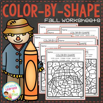 Color By Shapes Worksheets: Seasons Bundle
