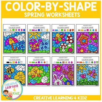 Color By Shape Worksheets: Spring