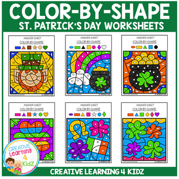 Color By Shape Worksheets: St. Patrick's Day