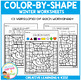 Color By Shapes Worksheets: Winter