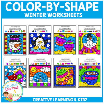 Color By Shape Worksheets: Winter