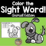Color By Sight Word for Kindergarten {Animal Edition}