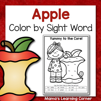Color-By-Sight Word: Apples!