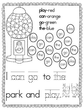 Color By Sight Word Freebie!