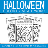 Color By Sight Word Halloween Worksheets