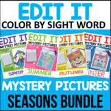 Editable Color By Sight Word Mystery Picture Growing Bundle - Seasons