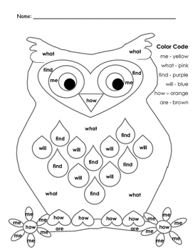 Owl Color By Words OR Sight