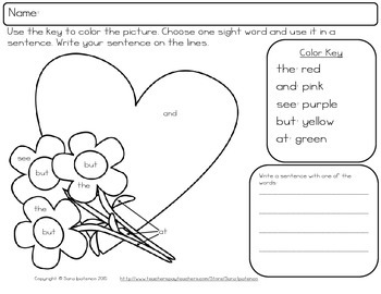 Color By Sight Word Practice Packet: Valentine's Day Theme