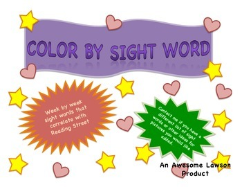 Color By Sight Word- Reading Street