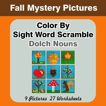 Color By Sight Word Scramble - Autumn Mystery Pictures - Dolch Nouns