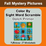 Color By Sight Word Scramble - Autumn Mystery Pictures - D