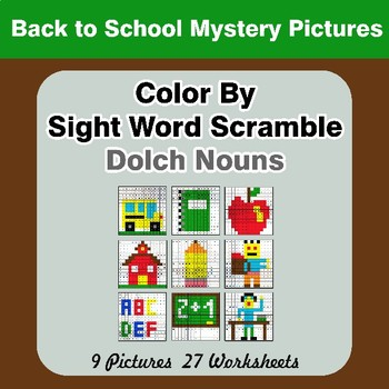 Color By Sight Word Scramble - Back To School Mystery Pictures - Dolch Nouns