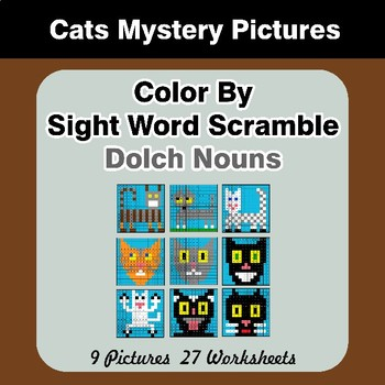 Color By Sight Word Scramble - Cats Mystery Pictures - Dolch Nouns