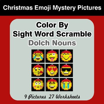Color By Sight Word Scramble - Christmas Emoji Mystery Pictures - Dolch Nouns