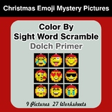 Color By Sight Word Scramble - Christmas Emoji Mystery Pic